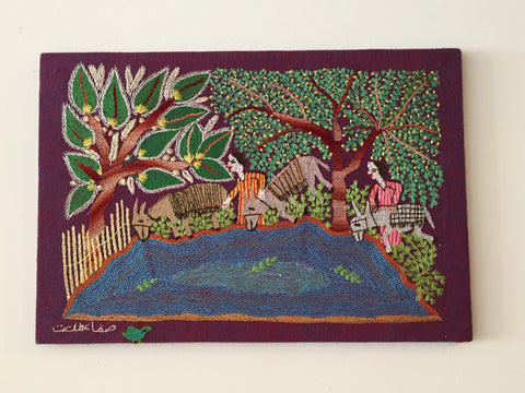 Hand Embroidered Tapestry - On the Canal