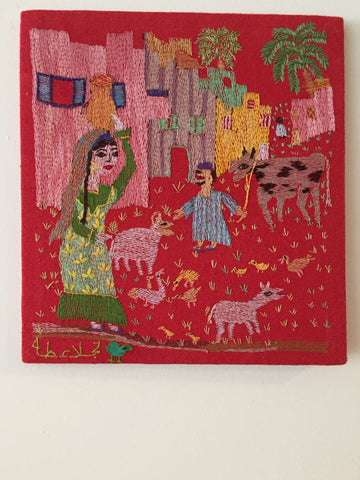 Hand Embroidered Tapestry - The Countryside by Naglaa Taha