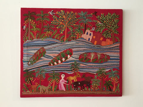 Hand Embroidered Tapestry - The Island