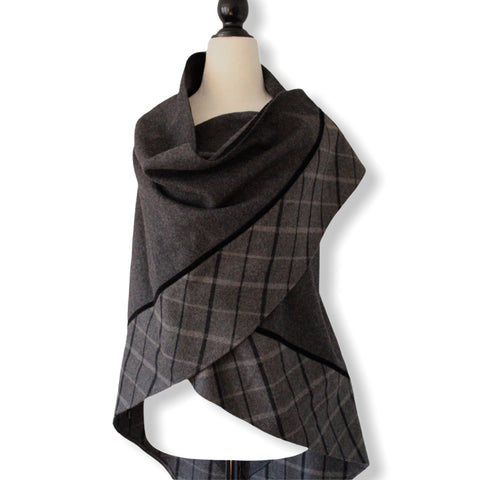 Handmade Triangular Wool Solid & Plaid Shawl_1