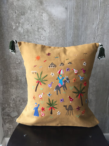 Handmade Cushion Cover with Fellahy Embroidery