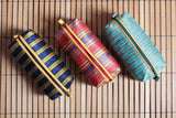 Handcrafted Striped Moiré Cosmetic Bag