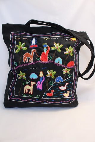 Hand Embroidered Canvas Tote Bag - Black