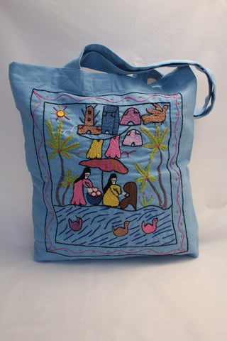 Hand Embroidered Canvas Tote Bag - Light Blue