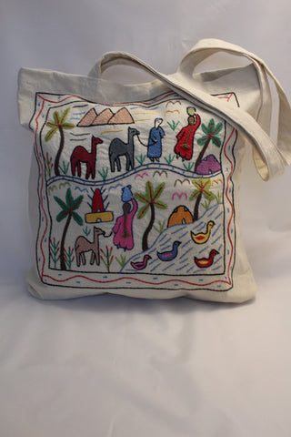 Hand Embroidered Canvas Tote Bag - Off-white
