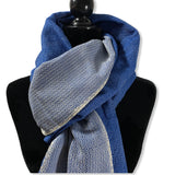 Diamond Handwoven Cotton Shawl - Navy & White