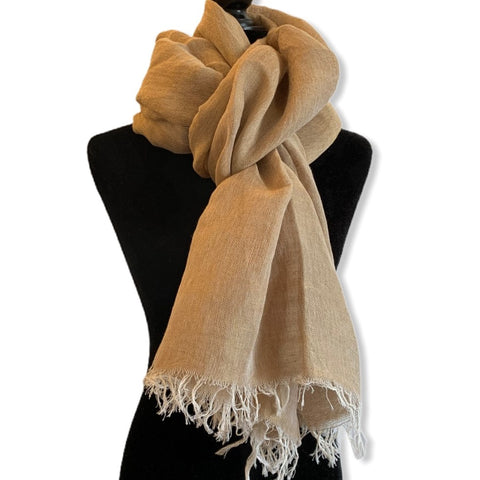 Linen Handwoven Scarf - Honey Gold