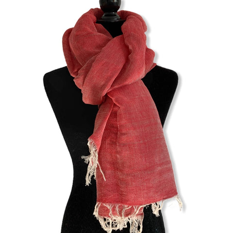 Linen Handwoven Scarf - Watermelon Red