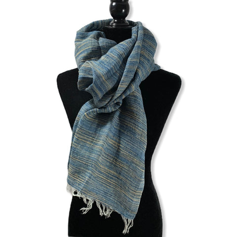 Linen Handwoven Scarf - Variegated Blue