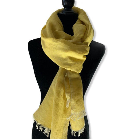 Linen Handwoven Scarf - Canary Yellow