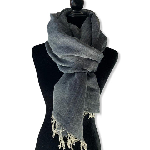 Linen Handwoven Scarf - Charcoal & white