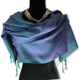 Solid Handwoven Scarf - Emerald & Purple