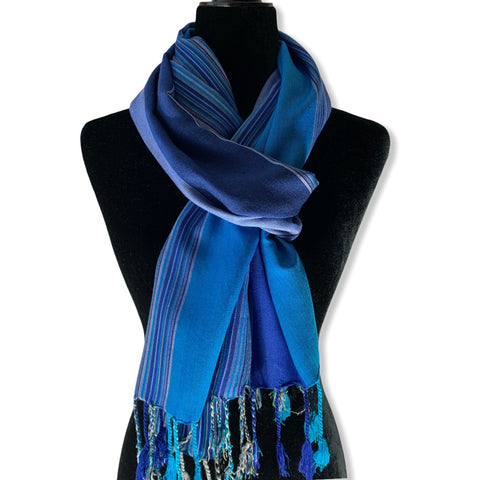 Striped Handwoven Scarf - Egyptian Blue & Azure