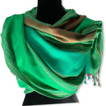 Striped Handwoven Scarf - Green & Turquoise