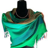 Wide Striped Handwoven Scarf - Emerald & Green