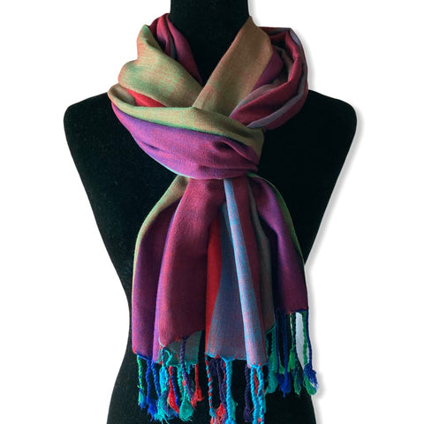 Wide Striped Handwoven Scarf - Purple, Violet & Olive