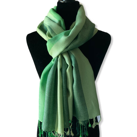 Wide Striped Handwoven Scarf - Shades of Pistachio