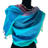 Wide Striped Handwoven Scarf - Shades of Turquoise