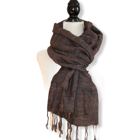 Variegated Handwoven Scarf - Brown