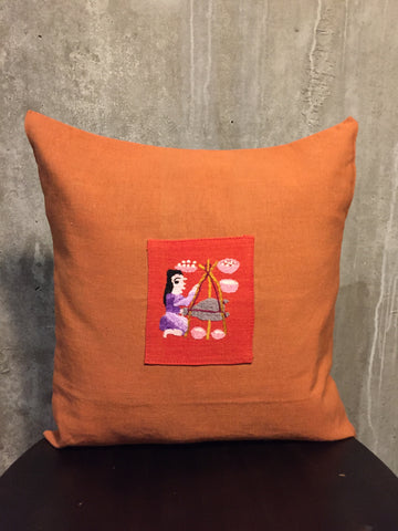 Handwoven Egyptian Cotton Cushion Cover - Hand Embroidered Art - Woman Making Cheese