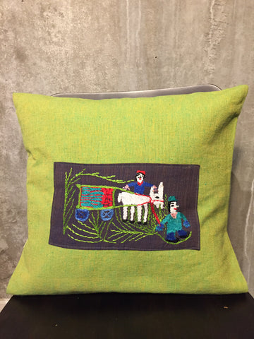 Handwoven Egyptian Cotton Cushion Cover - Hand Embroidered Art - Donkey Drawn Cart