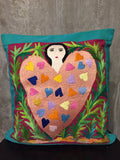 Handwoven Egyptian Cotton Cushion Cover - Hand Embroidered Art - Woman with Big Pink Heart