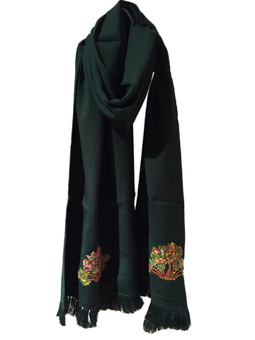 Handwoven Scarf with Hand Embroidered Egyptian Motifs