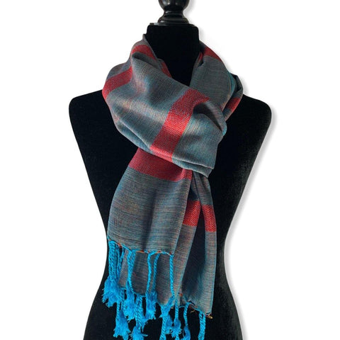 Helyat Handwoven Scarf - Turquoise & Pink