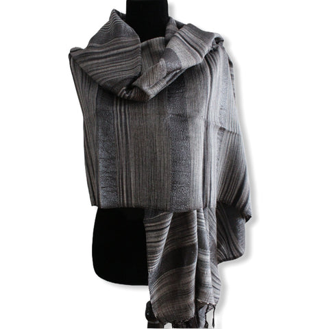 Helyat Handwoven Shawl - Variegated Shades of Gray