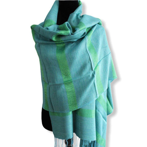 Helyat Handwoven Shawl - Variegated Turquoise & Green
