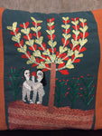 Handwoven Egyptian Cotton Cushion Cover - Hand Embroidered Art - Adam & Eve