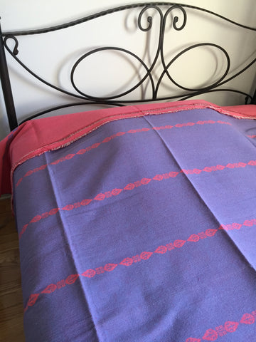 Handwoven Egyptian Cotton Bedcover: Leaves Motif - Single