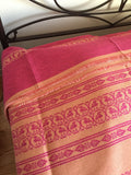 Handwoven Egyptian Cotton Bedcover: Pink & Beige Roosters & Leaves - Single
