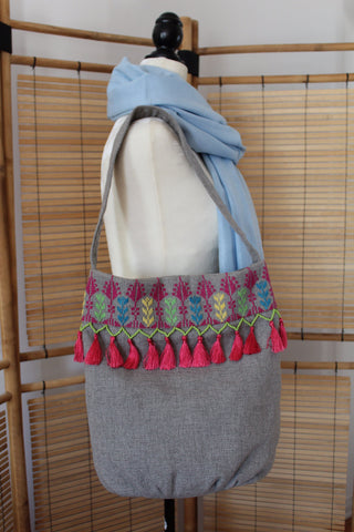 Kholoud Handcrafted Shoulder Bag with Arish Stitching - Gray