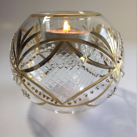 Blown Glass Candle Holder - Gold Harlequin