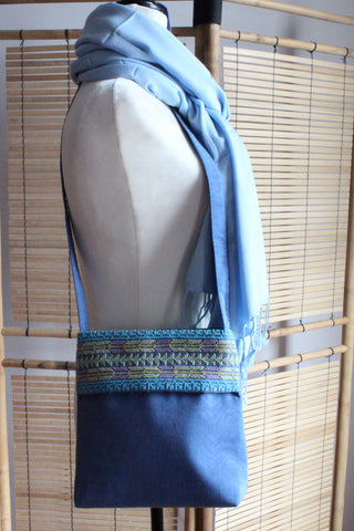 Maha Handcrafted Moiré Arish Shoulder Bag - Blue
