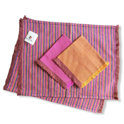 Handwoven Placemats & Napkins - Apricot & Fuchsia