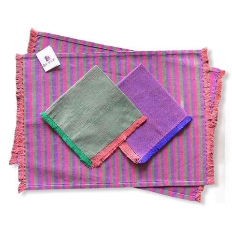 Handwoven Placemats & Napkins - Green, Mauve & Pink