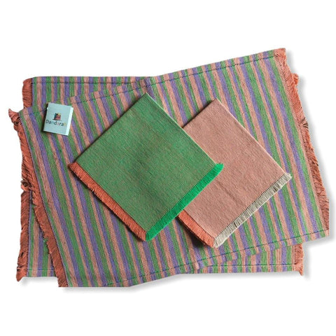 Handwoven Placemats & Napkins - Green, Mauve & Salmon