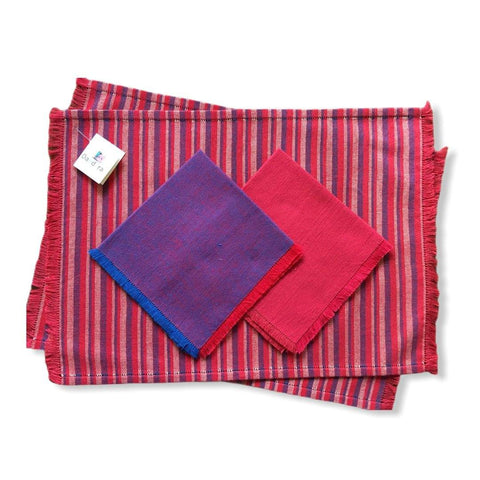 Handwoven Placemats & Napkins - Red & Navy Blue