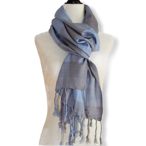 Plaid Handwoven Scarf - Blue & Gray