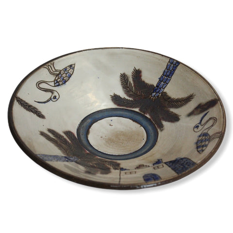 Pottery Round Plate - Palm Tree & Egret