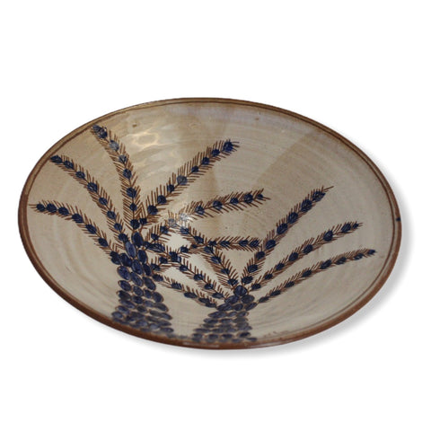 Pottery Round Plate - Two Palm Trees