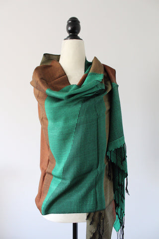 Pyramids Handwoven Viscose Shawl - Brown and Green