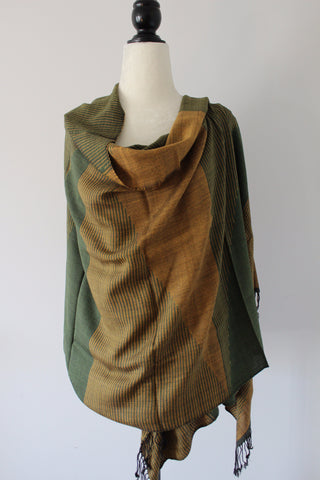 Pyramids Handwoven Viscose Shawl - Mustard and Green