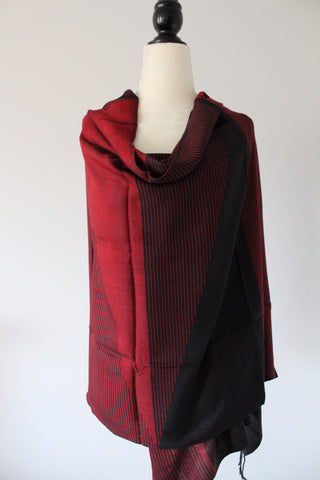 Pyramids Handwoven Viscose Shawl - Red and Black