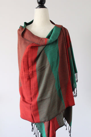 Pyramids Handwoven Viscose Shawl - Red and Green