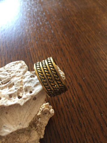 Handmade Brass Band Ring - Braids
