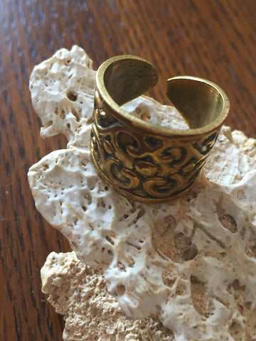 Handmade Brass Band Ring - Floral