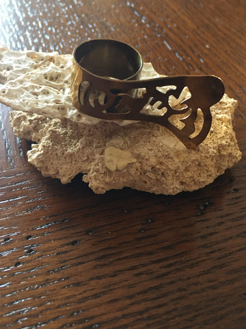 Handmade Brass Ring - Butterfly Shape